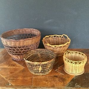 4 Boho Wicker Rattan Baskets